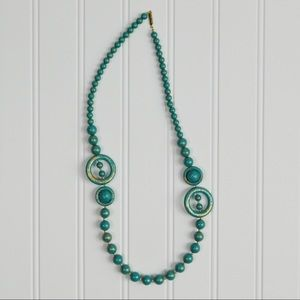 Vintage Distressed Teal Gold Asian Beaded Necklace